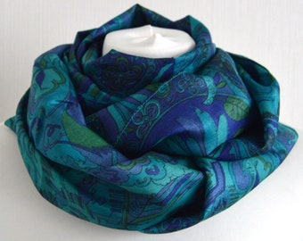 Jade Turquoise Silk Scarf - Silk Infinity Scarf - Nursing Cover - Upcycled Sari Scarf - Handmade Scarf - Baby Shower Gift - CMCNCP0455
