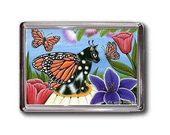 Fairy Cat Magnet Monarch Butterfly Tulips Fantasy Cat Art Framed Magnet Cat Lovers Gifts