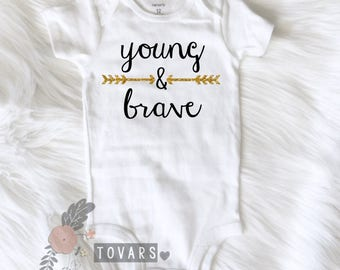Young & Brave Baby Bodysuit,  baby shower gift, boho baby bodysuit, baby girl clothes, boho baby gift, newborn baby gift, boho kids clothes