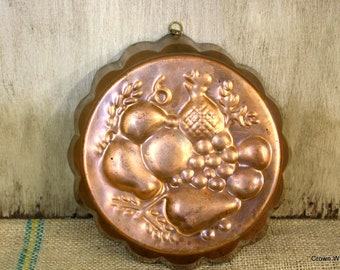 Vintage Solid Copper Fruit Mold - Wall Hanging - Kitchen Decor - Jello Mold