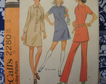 vintage 1970s McCalls sewing pattern 2280 misses dress in two lengths  or top and pants size 12