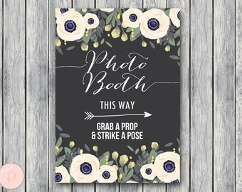 Photobooth Sign, Grab a prop and take a pose, Elegant White Floral, Download, Printable Sign, Wedding Reception Sign, Engagement WD13 TH13