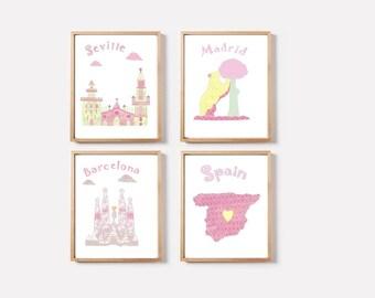 79 Nursery wall art,spanish print nursery,kids room decor,kids room art,tableau chambre enfant,Barcelona,Seville,Madrid,pastel colors