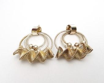 Vintage Drop Pierced Earrings / Lightweight Silver Tone Metal Adorned Triple Hoops Dangle Earrings / Feminine Modern