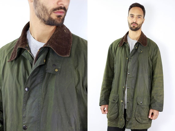 BARBOUR Wax Coat BORDER Wax Jacket Vintage Barbour Coat Parka Green Coat Barbour Vintage Wax Jacket Green Wax Coat Barbour BORDER Jacket