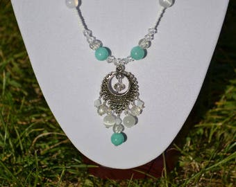 clear and green pastel necklace