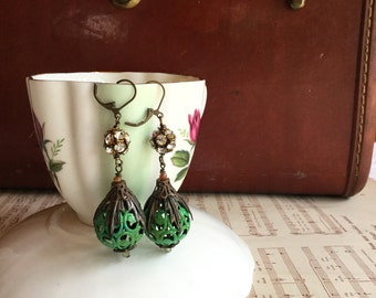 Green with envy - unique vintage assemblage earrings