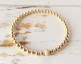 Beautiful Gold Filled Beaded Bracelet with Stardust Bead, Gold Filled Beads All Around, Shiny, gold filled bracelet, stardust bead