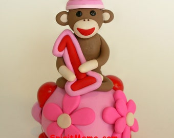 Customized to Match Your Party Invitations Sock Monkey Birthday Cake Topper