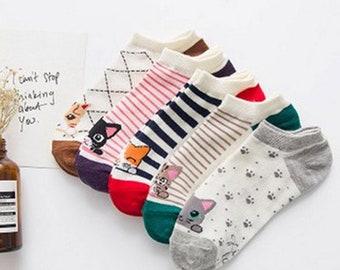 Ladies cat socks, fun socks, ladies cotton socks, kawaii socks, crazy socks, happy socks, girls cat socks, cotton socks