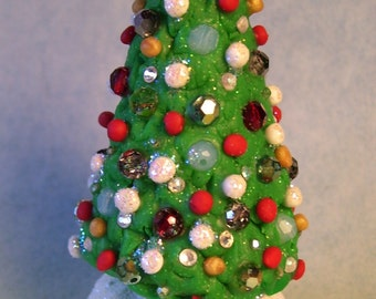 Polymer clay Christmas tree for your fairy garden or terrarium decor