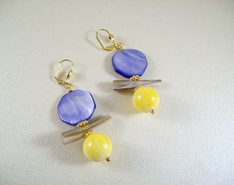 Sun & Earth earrings with blue, pierced or clip on Mother of Pearl shell