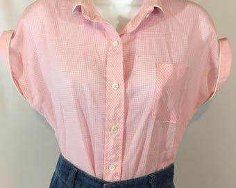 """Vintage 1970's western embellished pink gingham blouse by """"wrangler"""" Rockabilly. Sheer cowboy shirt. Size large"""