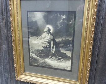 """Antique Gold Framed """"JESUS Garden Of Gethsemane"""" Religious Print By Artist Johnson Gordon, Chicago - Ornate Artwork Wall Decor Painting"""
