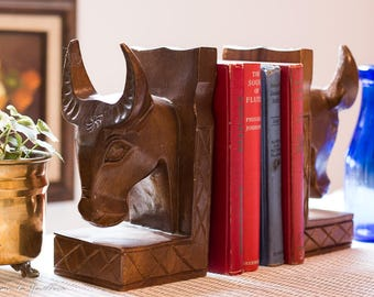 Boho Bookends Bulls Oxen carved wood