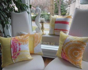 Ombre Pillow Coral Pillow Yellow Pillow Orange Pillow Tye Dye Pillow Reversible Pillow Stripe Pillow Shibori Pillow Yellow Pillow