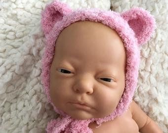 Newborn knit bear bonnet,photo prop,gift ,coming home