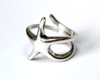 Two for One Sale - Silver Starfish Ring in Solid White Bronze with Sterling Overlay Starfish Ring 242