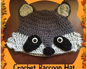 Crochet Raccoon hat (Infant-Adult Sizes)
