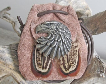 Eagle Spirit Animal Amulet, Handmade Tribal Power Animal Totem Medicine Bag