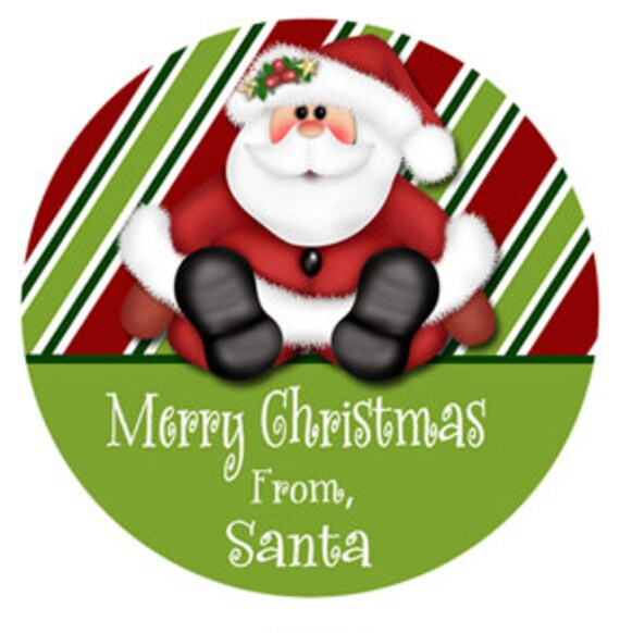 Personalized Christmas Gift Tags: SET OF 24 Christmas Gift Sticker Personalized Santa Gift Tag
