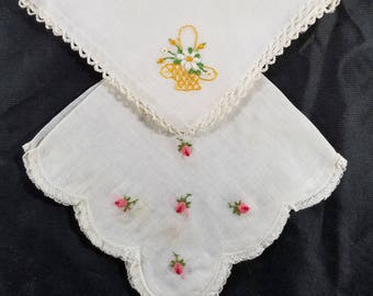 Two Vintage Embroidered Hankies Floral Designs