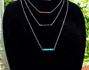 Sterling Silver Beaded Bar Necklaces