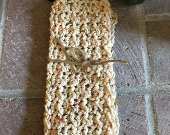 Crochet washcloth, dishcloth, handmade washcloths, beige flecked washcloth