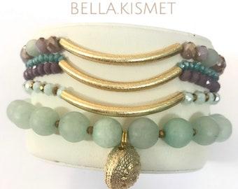 Set of Bracelets -Jade and Amazonite