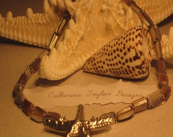 Beautiful Tan Shell Large Silver Starfish Necklace