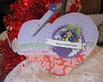 Shabby Chic Inspired Quilted Style Heart Tag Card-wedding-bridal shower-heart-Valentines Day-lavender-orange-mint green-bird