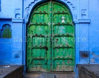 Blue Print Wall Art, Door Photography, Old Green Wood Door in Blue City of Jodhpur, Rajasthan, India Photography, India Print Art, Vertical