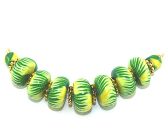 Fine rondelle jewelry beads DIY jewelry making gift for her Round beads Polymer Clay beads Nature Green Yellow bracelet beads for Mom 9 pcs