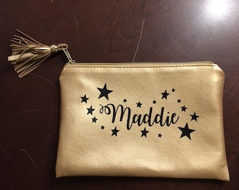 Personalized Metallic Makeup Clutch Bag with Stars