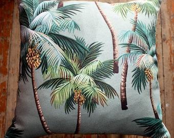 tropical palm tree barkcloth 45 cm sq cushion cover