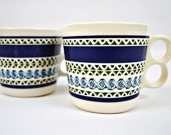 VTG- 1960s- 1970s, Blue and Green, Striped, Double Loop Handle, Mid-Century Mugs Made in the USA, Sixties Seventies Teacups, Set of 2, Pair