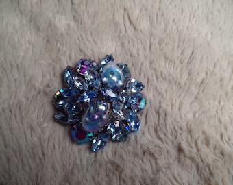 Dazzling Shades of Blue Brooch Signed Regency