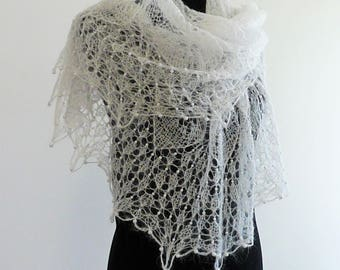 Wedding shawl, hand knitted white lace shawl, romantic lace, bridal stole, mohair wrap, woman cover up, kerchief, tippe, shoulder shawl