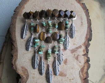 Tigerseye and African Turquoise Hair Clip