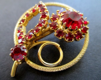 Flower Pin/Brooch * Rhinestone Circle * Ruby Red Color * Classic Vintage Jewelry