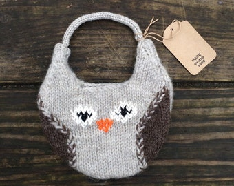 Child's Mini Owl Purse hand knitted wool photo prop