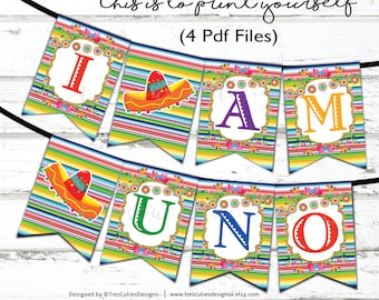 Fiesta Banner Printable - Mexican Theme Party - I AM UNO - Instant Download - Print YOURSELF - Printable