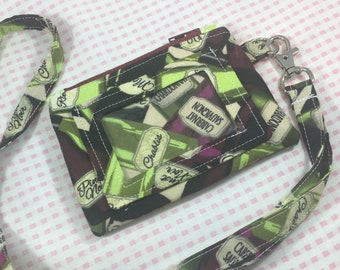 Wine Bottles Wallet, ID Wallet, ID wallet with Lanyard, Wallet, Coin Purse, Coin Purse With Lanyard, ID Coin Purse