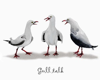 Gull talk card, hello, get well soon, thinking of you, greeting