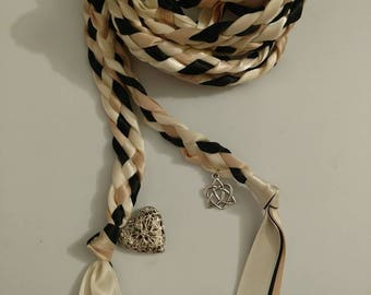 Ivory, Blush and Black Handfasting Ceremony Braid- Heart Locket and Celtic Heart Knot- 6 or 9 feet- Wedding-Braided Together- Handfasting