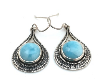 Silver Teardrop Larimar Earrings