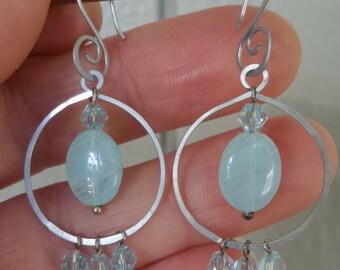 Blue Swarovski Crystal Hoop Earrings 100% Hand Crafted