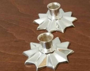 Two Small Silver Candle Holders