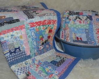 Photo Prop Vintage Quilt Layer - Squares/Log Cabin / Mini Blanket - Newborn / Toddler Photography Prop Layer, Basket Stuffer