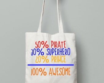 100 percent amesome tote bag | canvas bag | reusable grocery bag | fabric book bag | everyday tote | cloth canvas
